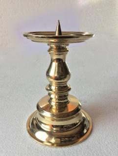 Kerzenhalter MESSING poliert KERZENLEUCHTER GOLD 17cm MASSIV Kandelaber 82279