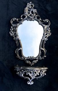 Wandspiegel Schwarz Silber Barock mit Wandkonsole Antik Badspiegel 50X76