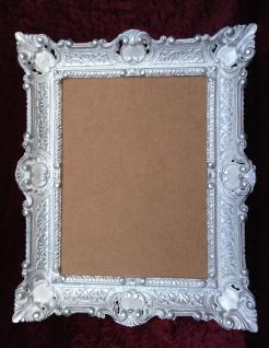 Bilderrahmen Jugendstil Weiß-Silber Antik Rechteckig 56x46 BAROCK 30x40 Rückwand - Vorschau 5