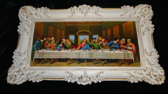 Bild mit Rahmen Abendmahl 97x58 Jesus Gemälde mit Rahmen Ikone Jesusbild ITALIEN