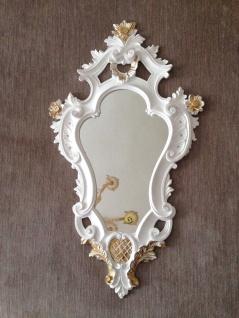 Italienischer Wandspiegel Weiß-Gold Rahmen Barock Spiegel Vintage 57x33 Antik