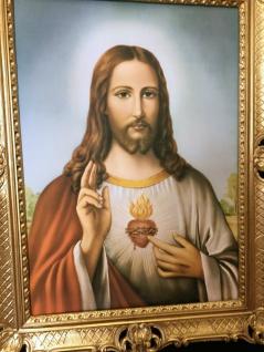 Jesus Christus Wandbild Christliche Heilige Jesus Bild Bilderrahmen Gold H1 - Vorschau 4