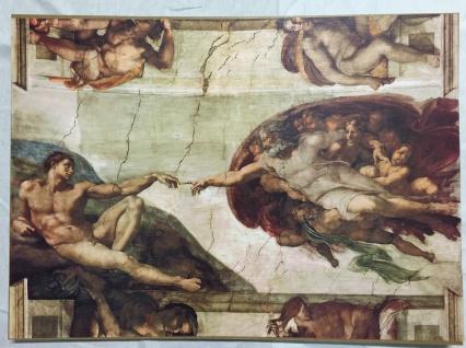 Wandbild Die Erschaffung Adams Wandbild 50x70 Bild auf MDF Platte Gemälde