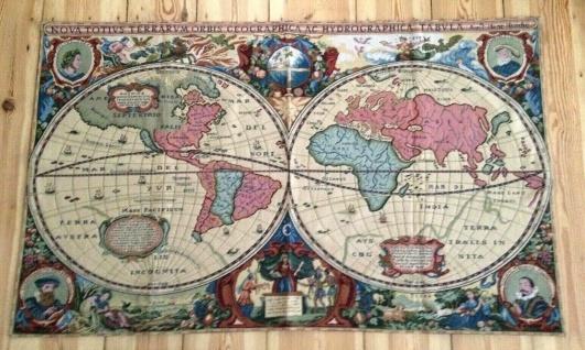 Wandteppich Gobelin140x 85 Weltkarte Antik Henry Hondra Geografische der Welt