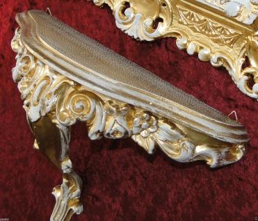 Wandspiegel ornament Ablage Regal Konsole31x21x12 Barock Antik Gold-Weiß Antik
