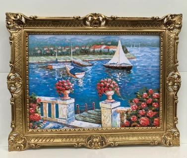 Gemälde Antik Haus am See Blume Bild mit Rahmen Gold 90x70 Seeblick Segelboot