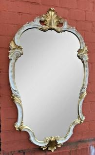 WANDSPIEGEL Barock Weiß-Gold Oval 99x55 Antik Spiegel Barock Friseurspiegel