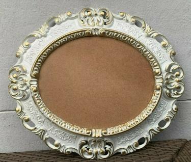 Bilderrahmen Oval Barock Weiß Gold 45x37 Antik Fotorahmen + Schutzglas Prunk