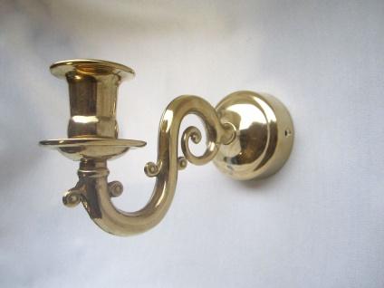 Wandkerzenhalter gold 18x9cm Wandleuchter, Wandhalter, Messing Hochpoliert,