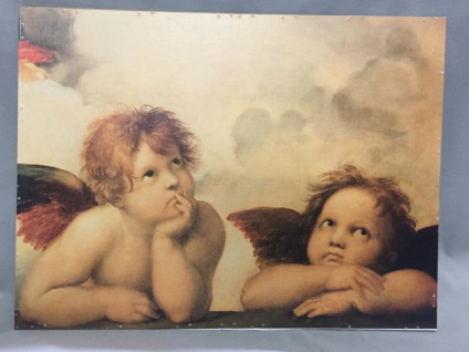 Engel Raffael Postengel Wandbild 30x40 auf MDF Angel Raphael heilige Bild