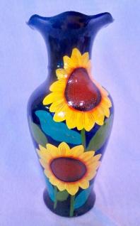 Dekoratives Bodenvase Sonnenblumenmuster in Blau 46cm Neu Deko Handgemalt %