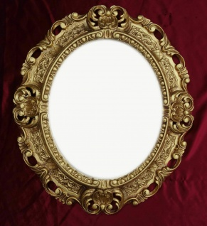 Bilderrahmen Oval barock+GLAS Gold Silber Schwarz Weiß 45x38 Fotorahmen Antik - Vorschau 2