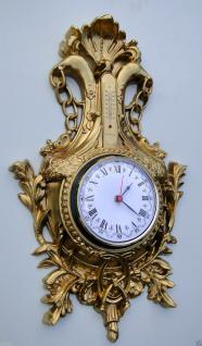 Wanduhr nostalgie mit Thermometer Gold 38x65 Vintage jugendstill ANTIK RETRO