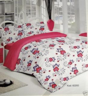 Bettwäsche Blumenmuster 4 teilig Baumwolle 200x220cm Bettbezug Kissenbezug 50x70