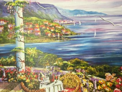 Landschafts Bild Gemälde Haus am See Möven Landschaftsbild 50x70 MDF Rückwand L4