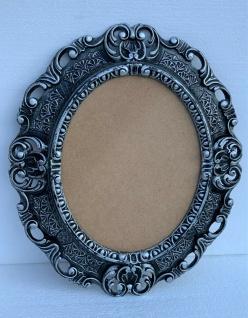 Bilderrahmen Oval Barock Schwarz Silber 45x37 Antik Fotorahmen Prunk