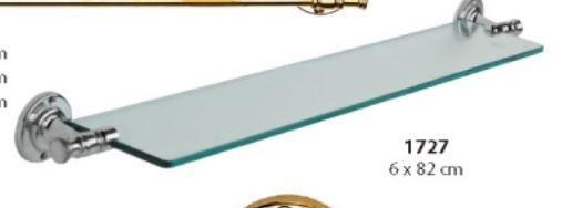 Badablage WC poliertes Messing Silber verchromt Badartikel Glasablage 6x82cm