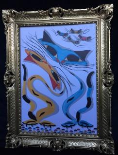 Gemälde Katzen Bild mit Rahmen Tiere Gerahmte Bild 90x70 Katzen