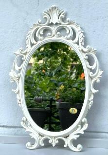 Wandspiegel Creme Oval Barock 43x27 Schminkspiegel Bad-Friseurspiegel Antik