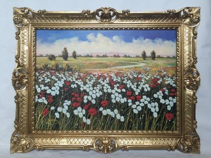 Rosen Kamille Mohnblumen 90X70 Bilderrahmen Bild mit Rahme Gemälde gerahmt
