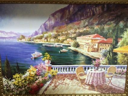 Gemälde Antik Haus am See Blume Bild mit Rahmen 90X70 BILDERRAHMEN L6