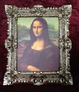 Mona Lisa Bild Rahmen Antik Silber Wandbild Gemälde Leonardo da Vinci 45x38
