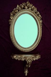 Wandspiegel mit Konsole Gold Spiegel 51x37 BAROCK Oval Wandspiegel Ablage C496