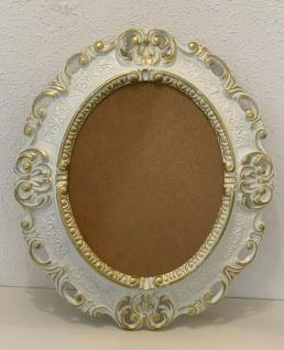 Bilderrahmen Antik Weiß Gold Oval 45x37 Barock Fotorahmen Bilderrahmen mit Glas