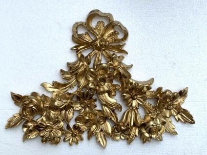 Wanddeko Gold Wandrelief Blumen 38x28 Wanddekoration Türdekoration Spiegel Deko