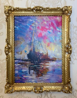 Bild mit Rahmen Gold 90x70cm Segelschiffe Gemälde 50x70 Wandbild Barock Antik