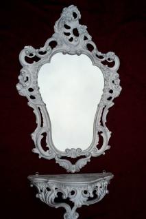 Wandspiegel mit Wandkonsole Weiß-Silber Barock Badspiegel mit Ablage Antik 76cm - Vorschau 3