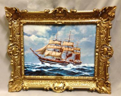 Segelschiff Amergio Vespucci Gemälde Schiffbild Bilderrrahmen Wandbild 56x46 - Vorschau 4