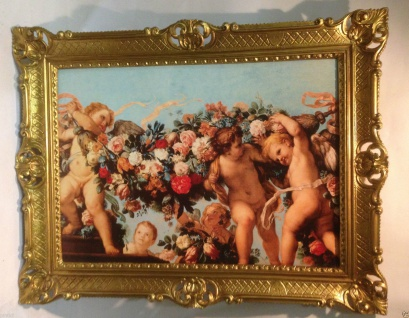 Schutzengel Engel Bild 90x70 Heiligen bIld Christlichen Bild Wandbild Rahmen