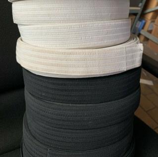 10 Meter Gummikordel Gummiband Hosengummi Gummilitze 35 mm Weiß-Schwarz kochfest - Vorschau 1