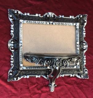 Wandspiegel mit Konsole Barock Spiegel Schwarz-silber 45x37 Spiegel antik Ablage - Vorschau 5