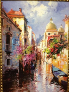 Venedig Brücke Boot Gerahmte Gemälde 90x70 Italien Venezia Venedig Gondel Dom - Vorschau 4