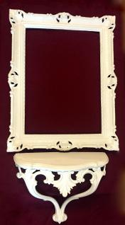 Wandspiegel mit Konsole Groß Weiß Barock Rechteckig 90x70 Bad-Flurspiegel Antik