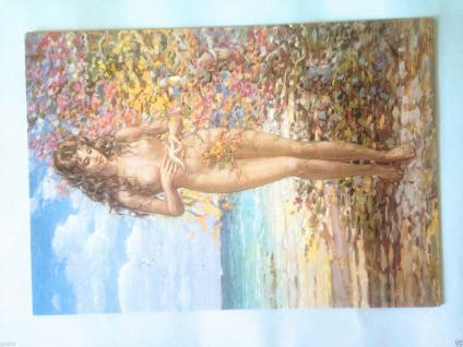 Nackte Frau Akt Frau Am Meer 50x35 Frau Erotik Bild Mit Mdf Platte Seestern - Vorschau 4