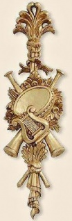 Wanddeko Barock Wandbehang Wandrelief Gold Türbogen 60x18 Antik Harfe/Trompete