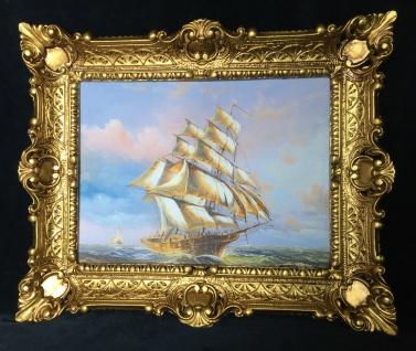 Segelschiff Meer Maritime Gemälde Schiffbild 57x47 Wandbild mit Rahmen Antik