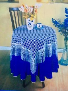 Spitzen Tischdecke 100x100 häkelspitze plauener weiß Spitze Polyester Bestickt
