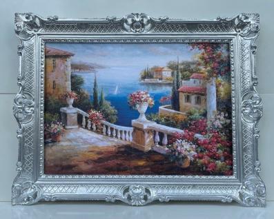 Bild mit Rahmen Blumen Landschaft Antik Seeblick 90x70 Gerahmte Bilder Wandbild