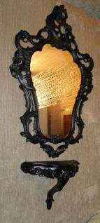 Wandspiegel Barock Schwarz + Wandkonsole Antik 76x50 Badspiegel Antik Shabby