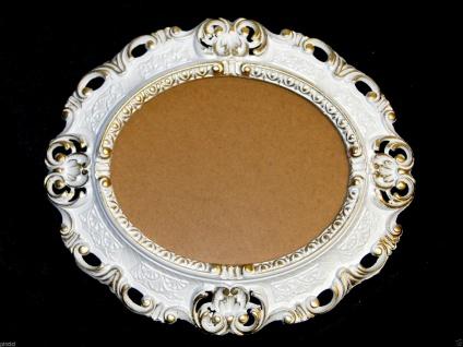 BILDERRAHMEN OVAL Weiß-Gold Antik Barock Fotorahmen 45X37 Spiegelrahmen Neu - Vorschau 2