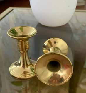 2 x Kerzenleuchter Messing Kerzenständer Gold Kerzenhalter 6, 5cm Tischdekoration - Vorschau 3