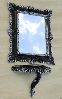 Wandspiegel mit Ablage Wandkonsole Rechteckig Schwarz Silber 45x37 Badspiegel