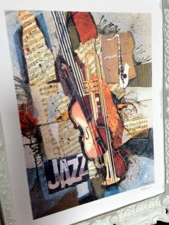 Bild mit Rahmen Musik Instrumente Jazz Geige Trompete Saxophon 45x38 Gemälde