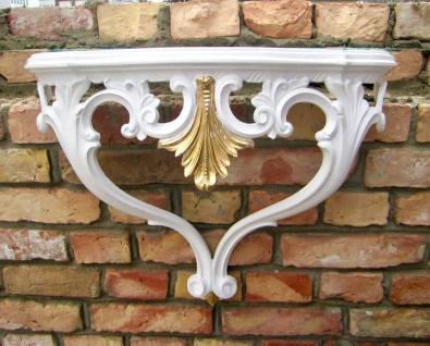 Wandkonsole Weiß Gold Antik 57cm Wandregal Wandtisch Barock Spiegelkonsole groß