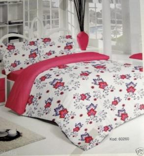 Bettwäsche Blumenmuster 4 Teilig Baumwolle 200x220cm Bettbezug