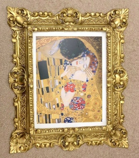 The Kiss Gustav Klimt 45x37cm Kunstdruck Bild mit Rahmen Gold Barock Wandbild